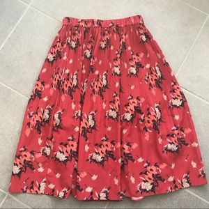 All saints pleated floral red skirt s 4